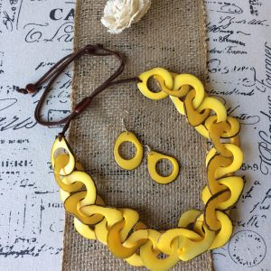 Yellow statement necklace and earrings set Tagua nut Big bold chunky Interlocking necklace Summer jewelry Leather anniversary gift for wife