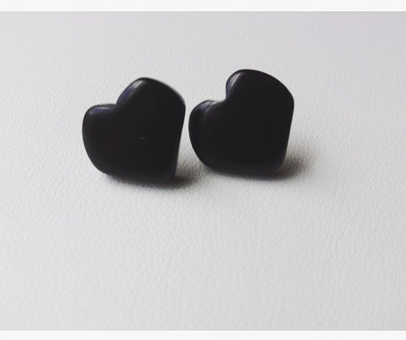 Black Heart Earrings Tagua Jewelry
