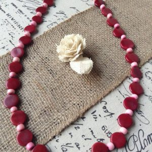 TAGUA NUT EXTRA LONG RED NECKLACE