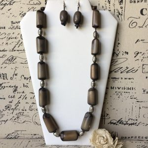 Gray Tagua Nut Necklace Set