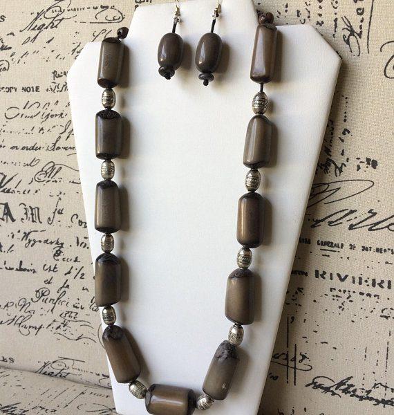Gray Tagua Nut Necklace Set