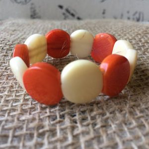 ORANGE AND BEIGE BEADED BRACELET FOR LITTLE GIRLS