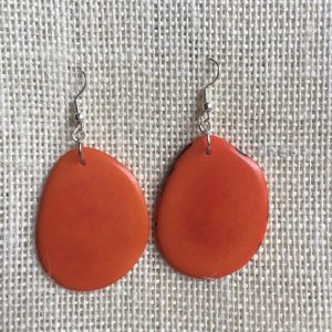 TAGUA NUT DANGLE AND DROP ORANGE EARRINGS