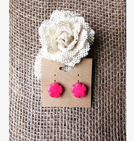 TAGUA NUT PINK FLOWER EARRINGS
