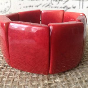 RED BEADED TAGUA NUT BRACELET - ETHNIC JEWELRY