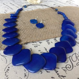 ROYAL BLUE ECO FRIENDLY NECKLACE AND DANGLE EARRINGS SET