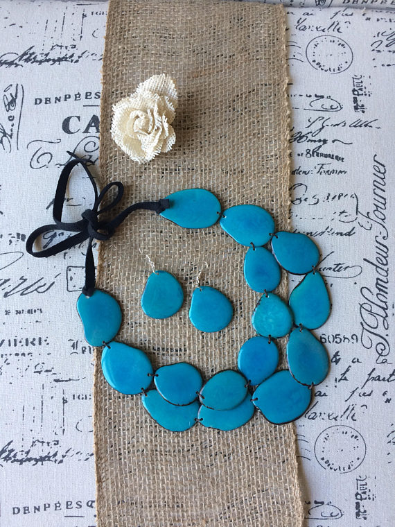 TURQUOISE STATEMENT LAYERED NECKLACE AND EARRINGS SET