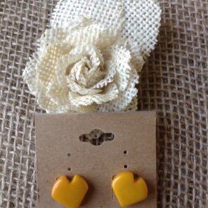 YELLOW HEART EARRINGS - ECO FRIENDLY TAGUA JEWELRY