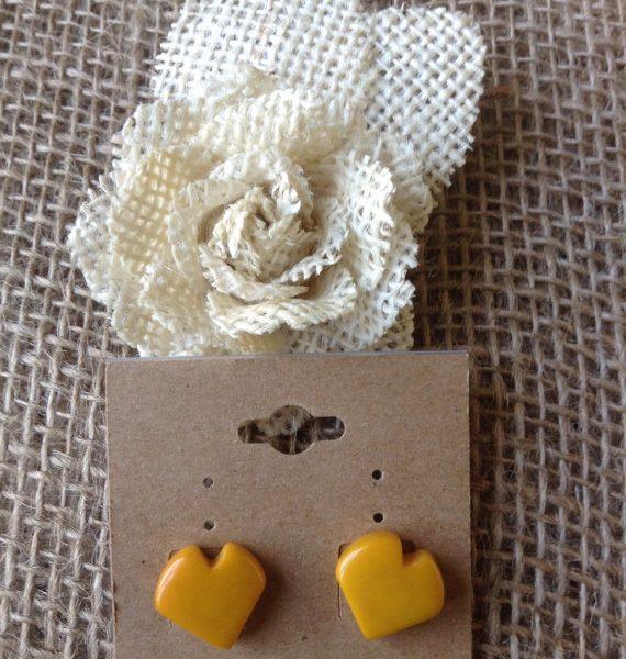 YELLOW HEART EARRINGS - ECO FRIENDLY TAGUA JEWELRY