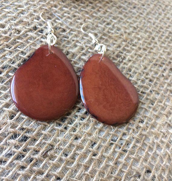 Big brown tagua earrings