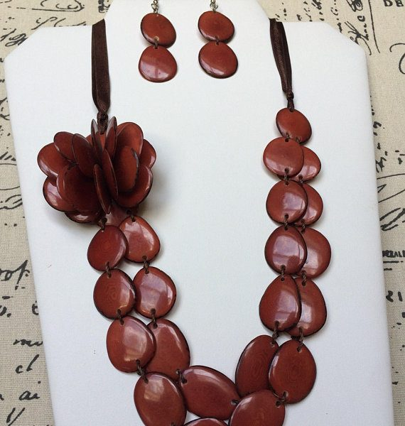 Brown flower tagua necklace