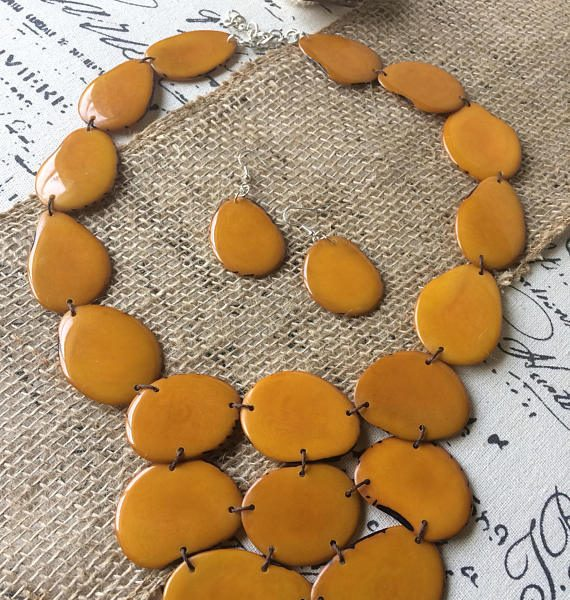 BUTTERSCOTCH AMBER YELLOW NECKLACE MADE OF ECO FRIENDLY TAGUA
