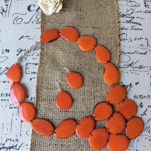 ORANGE NECKLACE MADE OF ECO FRIENDLY TAGUA