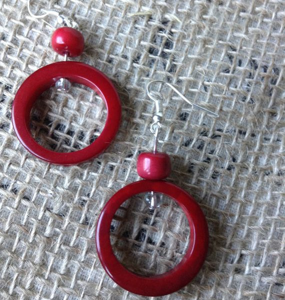 RED TAGUA AND ACAI SEED DANGLE AND DROP RED EARRINGS