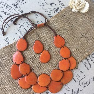ORANGE STATEMENT LAYERED NECKLACE AND EARRINGS SET