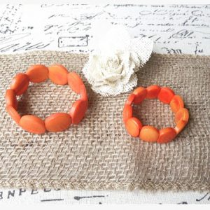 ORANGE HANDMADE TAGUA NUT BRACELETS - MOMMY AND ME SET