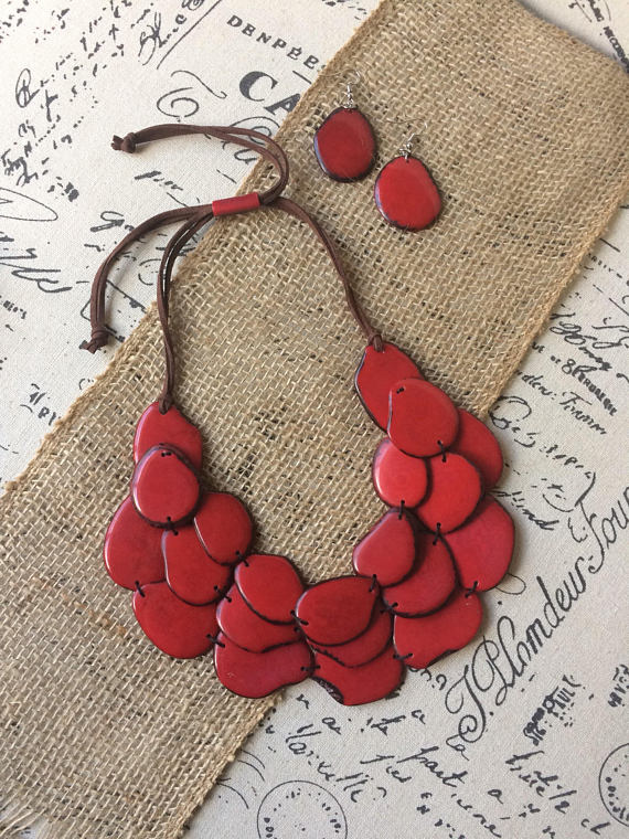 Red layered tagua necklace set