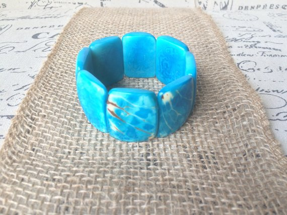 Turquoise marbled tagua bracelet