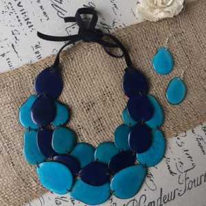TURQUOISE AND BLUE TRIPLE LAYERED NECKLACE AND EARRINGS SET
