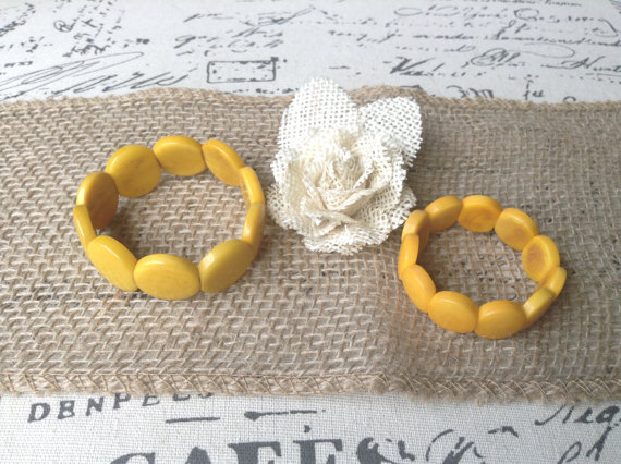 YELLOW HANDMADE CHUNKY BRACELETS MOMMY AND ME SET