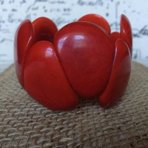 BRIGHT RED ORGANIC TAGUA NUT CHUNKY BRACELET