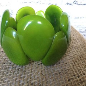 Bold and chunky green tagua nut bracelet