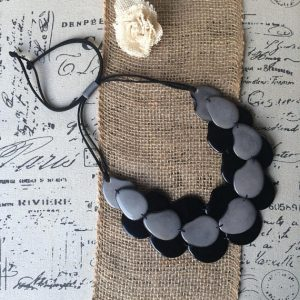 Multi Layer Tagua nut Necklace Black and Gray