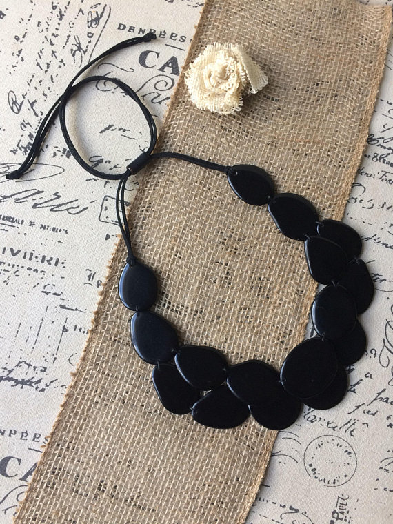 Black statement tagua necklace
