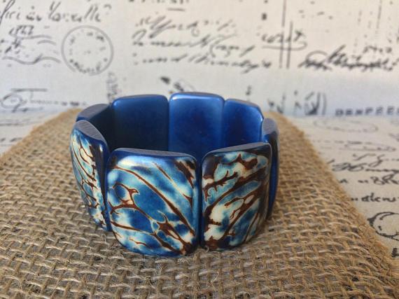 Blue Tagua nut Bracelet