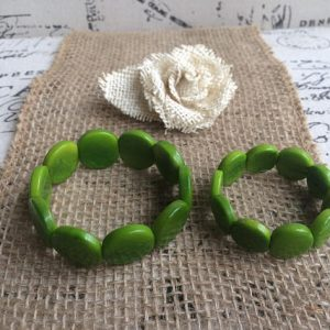 Green mommy and me Tagua nut bracelets