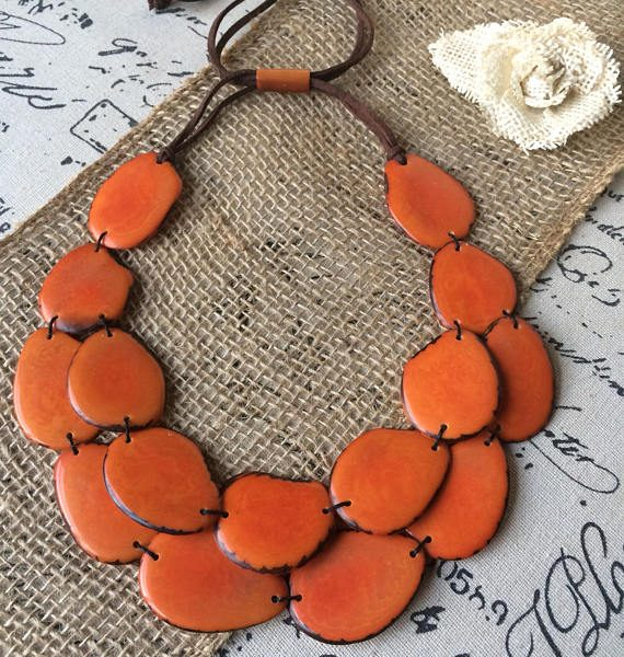 Orange double layer tagua necklace