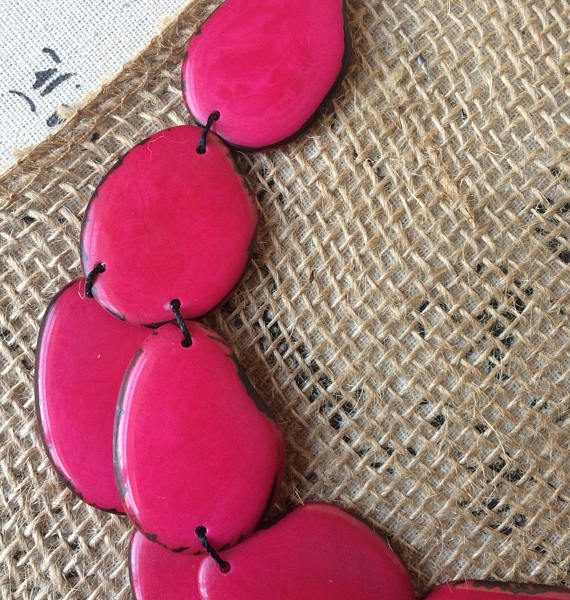 Hot Pink Beaded Tagua Nut Necklace
