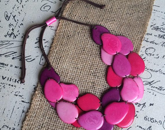 Pink Tagua nut layered necklace