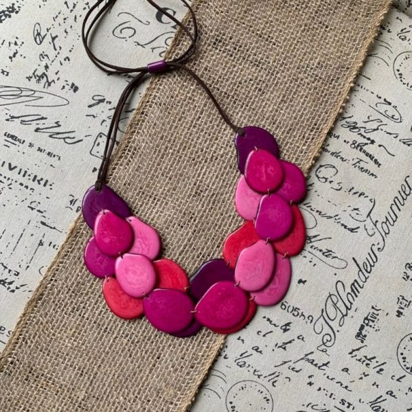 Pink shades tagua necklace