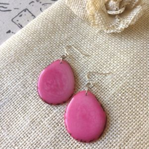 Pink Statement Tagua Nut Earrings