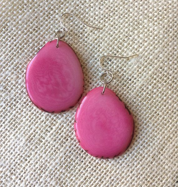Pink Statement Tagua Nut Earrings