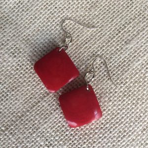RED TAGUA EARRINGS