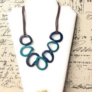 Blue and turquoise Tagua necklace