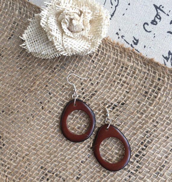 Brown Statement Tagua Earrings