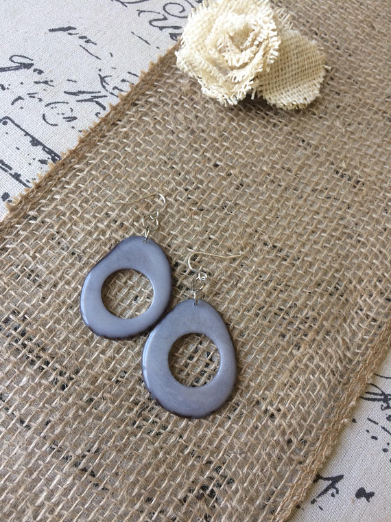Gray beaded tagua earrings