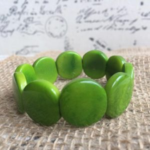 Green Beaded Tagua Bracelet