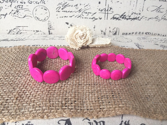Pink mommy and me Tagua bracelets