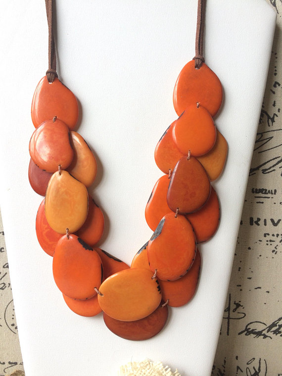 Orange triple layer necklace