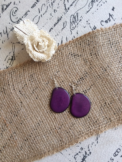 Big Purple Statement Tagua Nut Earrings