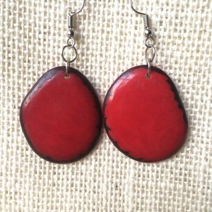 Red statement tagua earrings