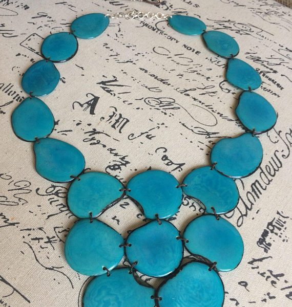 Turquoise Statement Tagua Nut Necklace