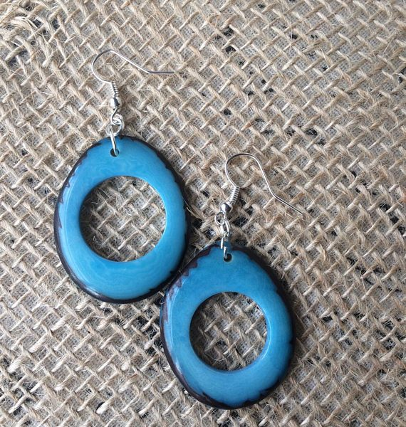 Turquoise Tagua Statement Earrings
