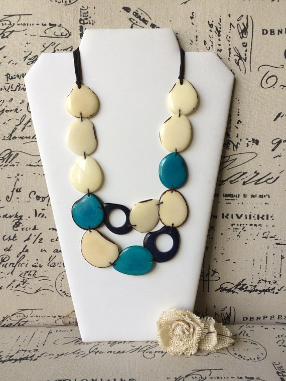 White Beaded Tagua Nut Necklace
