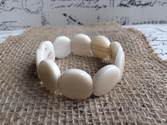 White Tagua Nut Bracelet with Round Beads