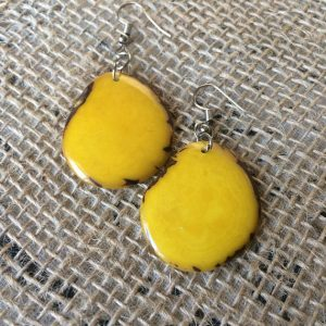 Yellow Tagua Nut Dangle Earrings